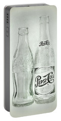 Coke Or Pepsi Black And White Portable Battery Charger by Terry DeLuco