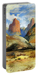 Portable Battery Charger featuring the painting Colburns Butte South Utah by Thomas Moran