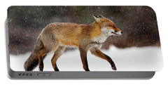 Cold As Ice - Red Fox In A Snow Blizzard Portable Battery Charger