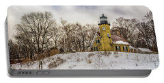 Portable Battery Charger featuring the photograph Cold Day At White River Lighthouse by Nick Zelinsky