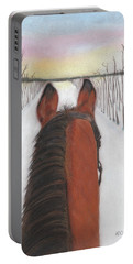 Portable Battery Charger featuring the drawing Cold Ride by Arlene Crafton