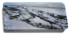 Cold Winter Day At Gullfoss, Iceland Portable Battery Charger