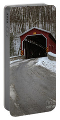 Colemansville Covered Bridge After Winter Snow Portable Battery Charger