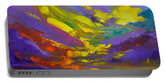 Portable Battery Charger featuring the painting Coloful Sunset, Oil Painting, Modern Impressionist Art by Patricia Awapara