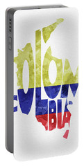 Colombia Typographic Map Flag Portable Battery Charger