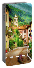 Portable Battery Charger featuring the digital art Colonno.lake Como by Jennie Breeze