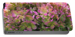 Color-changing Little Lime Hydrangea Portable Battery Charger by Rona Black