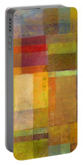 Portable Battery Charger featuring the painting Color Collage With Green And Red by Michelle Calkins
