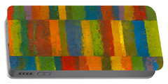 Portable Battery Charger featuring the painting Color Collage With Stripes by Michelle Calkins