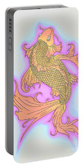 Portable Battery Charger featuring the drawing Color Sketch Koi Fish by Justin Moore