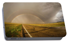 Portable Battery Charger featuring the photograph Colorado Double Rainbow by Chris Bordeleau