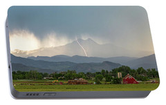 Portable Battery Charger featuring the photograph Colorado Front Range Lightning And Rain Panorama View by James BO Insogna