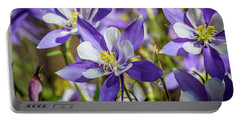 Colorado State Flower Blue Columbines Portable Battery Charger by Teri Virbickis