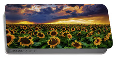 Colorado Sunflowers At Sunset Portable Battery Charger