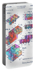 Colorful 1961 Toy Building Brick Patent Art Portable Battery Charger