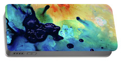 Portable Battery Charger featuring the painting Colorful Abstract Art - Blue Waters - Sharon Cummings by Sharon Cummings