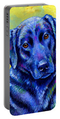 Colorful Black Labrador Retriever Dog Portable Battery Charger