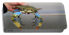 Portable Battery Charger featuring the photograph Colorful Blue Crab by Phyllis Beiser