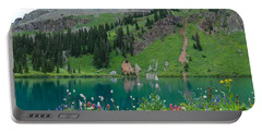 Portable Battery Charger featuring the photograph Colorful Blue Lakes Landscape by Cascade Colors