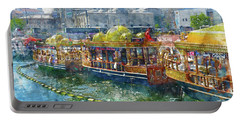 Colorful Boats In Istanbul Turkey Portable Battery Charger