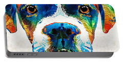 Portable Battery Charger featuring the painting Colorful Boxer Dog Art By Sharon Cummings  by Sharon Cummings