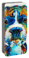 Colorful Boxer Dog Art By Sharon Cummings  Portable Battery Charger