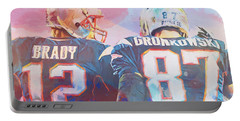 Portable Battery Charger featuring the painting Colorful Brady And Gronkowski by Dan Sproul