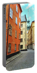 Colorful Buildings In The Old Center Of Stockholm Portable Battery Charger