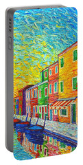 Colorful Burano Sunrise - Venice - Italy - Palette Knife Oil Painting By Ana Maria Edulescu Portable Battery Charger