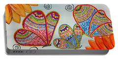 Colorful Butterfly In Madhubani Art Portable Battery Charger
