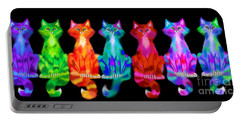 Colorful Calico Cats Portable Battery Charger by Nick Gustafson