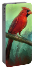 Colorful Cardinal Portable Battery Charger by Barbara Manis