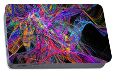 Portable Battery Charger featuring the digital art Rainbow Colorful Chaos Abstract by Andee Design