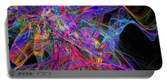 Rainbow Colorful Chaos Abstract Portable Battery Charger by Andee Design