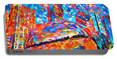 Portable Battery Charger featuring the painting Colorful Chicago Bean by Dan Sproul