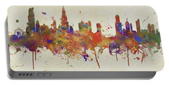 Colorful Chicago Illinois Skyline Portable Battery Charger