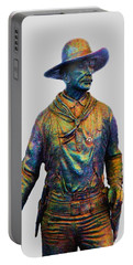 Portable Battery Charger featuring the photograph Colorful Cowboy Sculpture by Ellen O'Reilly
