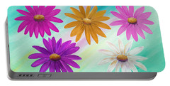 Portable Battery Charger featuring the mixed media Colorful Daisies by Elizabeth Lock