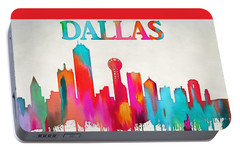 Colorful Dallas Skyline Silhouette Portable Battery Charger by Dan Sproul