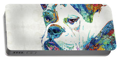 Portable Battery Charger featuring the painting Colorful English Bulldog Art By Sharon Cummings by Sharon Cummings