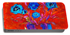 Portable Battery Charger featuring the digital art Colorful Floral Pop by Lisa Kaiser