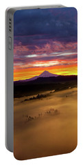 Colorful Foggy Sunrise Over Sandy River Valley Portable Battery Charger