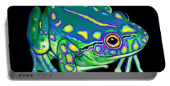 Portable Battery Charger featuring the painting Colorful Froggy 2 by Nick Gustafson