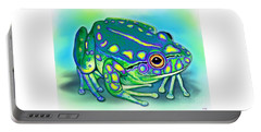 Portable Battery Charger featuring the painting Colorful Froggy by Nick Gustafson