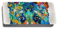 Colorful German Shepherd Dog Art By Sharon Cummings Portable Battery Charger