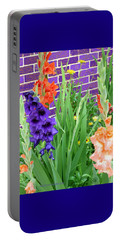 Portable Battery Charger featuring the pyrography Colorful Gladiolas by Elly Potamianos
