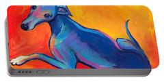 Colorful Greyhound Whippet Dog Painting Portable Battery Charger by Svetlana Novikova