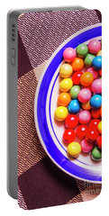 Colorful Gumballs On Plate Portable Battery Charger