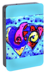 Portable Battery Charger featuring the painting Colorful Hearts Equals Crazy Hearts by Genevieve Esson