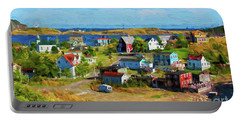 Colorful Homes In Trinity, Newfoundland - Painterly Portable Battery Charger